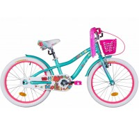 """Велосипед AL 20"""" Formula CREAM рама-11"""" бело-аквамариновый с крылом St, с корзиной Pl 2021"""